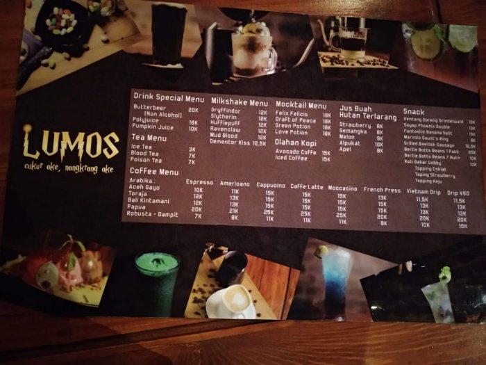 menu lumos cafe and barbershop